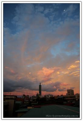 Taipei 101, 101, 夕陽, 火燒雲