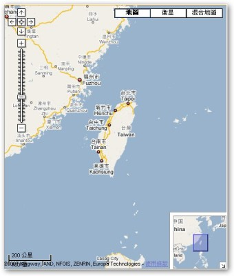 現在則是一進入 google maps 網站就是台灣地區的畫面