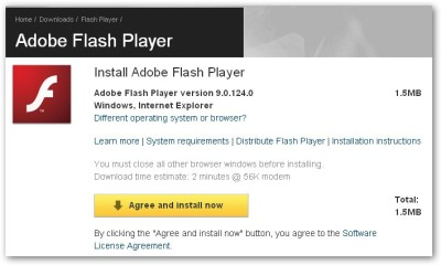 Flash Player 更新的錯誤訊息