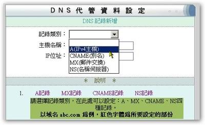 但聊勝於無啦!至少你還可以設定 A 記錄 ( Address Record )、CNAME 紀錄( Canonical Name Record )、MX 紀錄 ( Mail Exchanger Record ) 與 NS 紀錄。