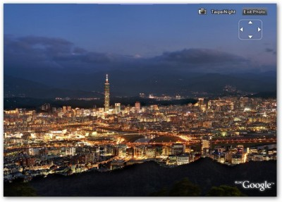 用 PhotoOverlay 的技術把 Taipei Night 在 Google Earth 上面展示,含 Taipei 101