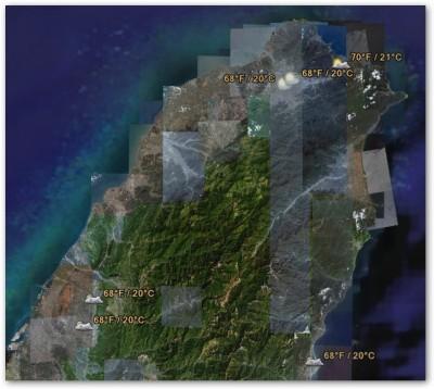 如果你把 Google Earth 裡面的位置縮放到適當的大小以後,如果圖層裡面 Weather 的項目有勾選的話,Google Earth 就會幫你載入那個畫面內一些城市的天氣與溫度。