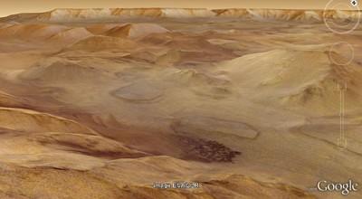 除了地圖的描述外,地理資訊的提供更是不可少的,可以透過 GE 去瞭解火星上面的地形。