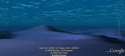 Google Earth 5.0 除了波浪效果之外,對於海底世界的地形描述也更加詳細了。