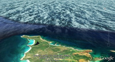 Google Earth 5.0 透過這個圖層,對於海岸邊線不再是單純的 2D 圖像,甚至有波浪的效果
