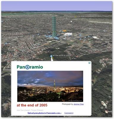 讓使用者在利用 Google Earth 觀看地理資訊時,一面也欣賞當地的相片喔!